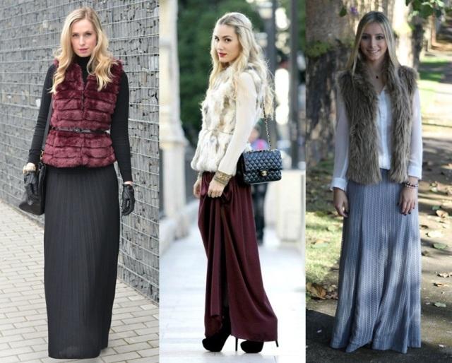 13_Colete de pelucia_looks para o trabalho_fur vest_colete de pelo fake_colete de pelucia_como usar_colete de pelucia com saia longa