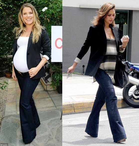 2_moda gestante_look para grávidas_look de inverno para gravidas_looks de trabalho para gestantes_moda para trabalhar_dicas de moda para grávidas_gravidas de blazer e jeans_calça flare